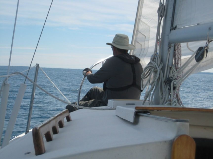 The seas were smooth enough and the wind direction steady, so Jeff hung out on the bow for a little bit.