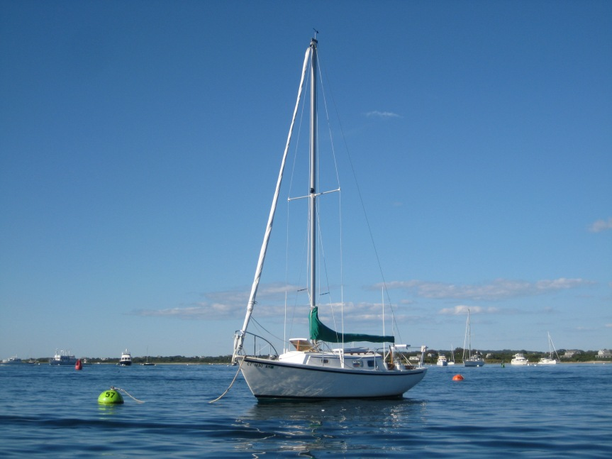 Pegu Club at her mooring in the Great Salt Pond.