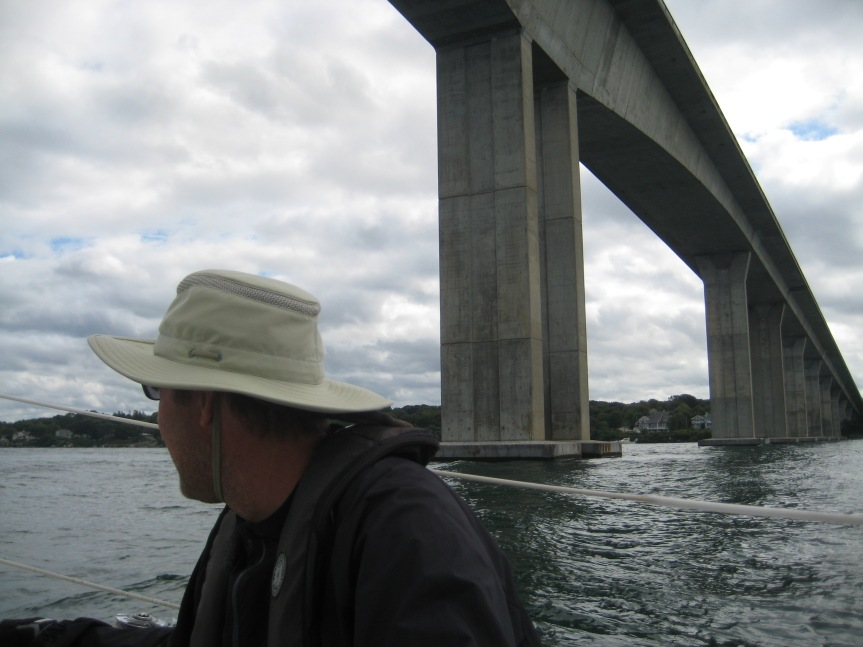 Heading under the Jamestown Bridge.