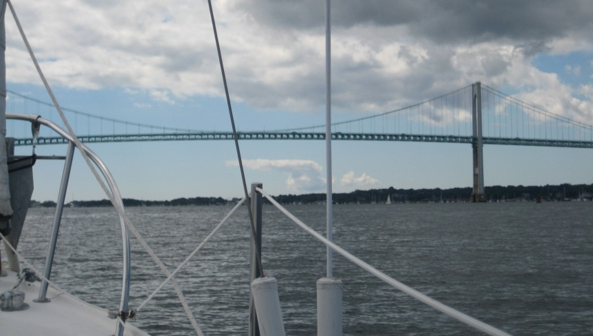 Approaching the Newport Bridge.