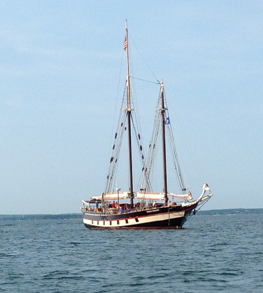 Mystic Whaler at anchor.