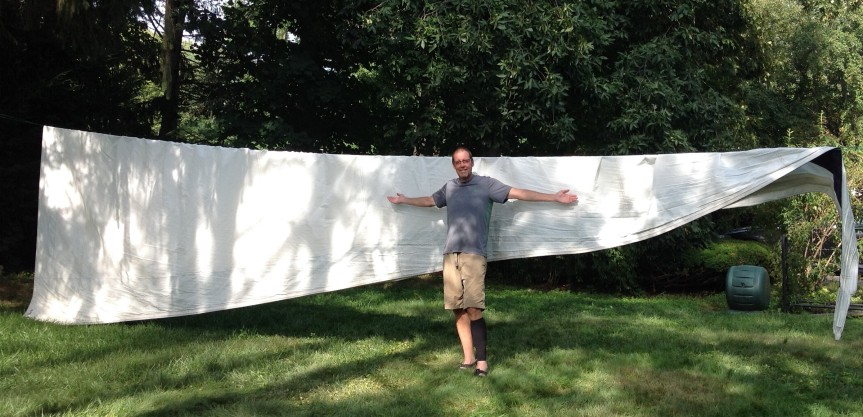 The clothesline is perfect for drying sails.